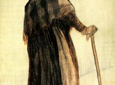 拄着拐杖围着披肩的老妇 荷兰 梵高 油画.jpg