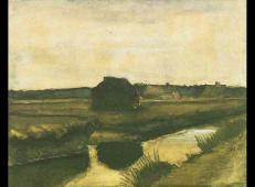 一堆泥炭和农舍 荷兰 梵高 油画.jpg