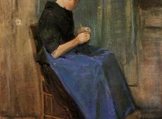 在针织的年轻女子 荷兰 梵高 油画.jpg