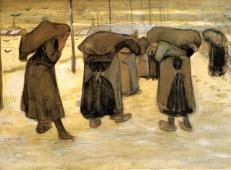 用麻袋背着煤的矿工们的妻子 荷兰 梵高 油画.jpg