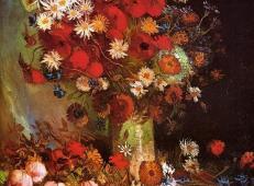 罂粟,矢车菊,牡丹和菊花 荷兰 梵高 油画 1886.jpg
