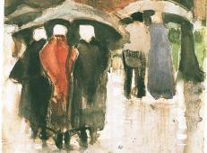 遮阳伞下的席凡宁根女子和其他人 荷兰 梵高 油画.jpg