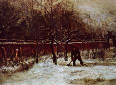 雪中纽南牧师的花园1 荷兰 梵高 油画.jpg