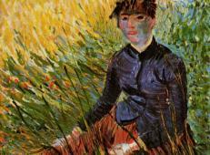 坐在草地上的女人 荷兰 梵高 油画.jpg