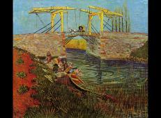 有妇女在洗衣服的阿尔勒吊桥 荷兰 梵高 油画 荷兰,克勒勒-米勒博物馆藏 1888.jpg