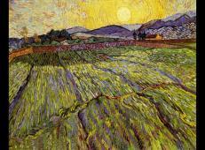 有围栏的麦田和初升的太阳 荷兰 梵高 油画.jpg