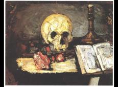 骷髅头,蜡烛和书籍 塞尚作品赏析.jpg
