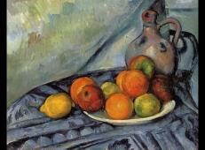 桌子上的水果和水壶 塞尚作品赏析.jpg