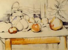 姜壶和桌子上的水果 塞尚作品赏析.jpg