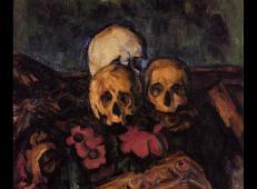 三颗骷髅头和鲜花图案的地毯 塞尚作品赏析.jpg