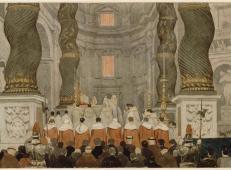 在罗马圣彼得贝尔尼尼天幕下的教皇仪式 法国 安格尔.jpg