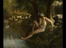 沐浴的放鹅少女 法国 米勒 布上油画.jpg